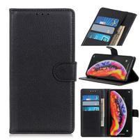 Litchi PU kožené peněženkové pouzdro na mobil Samsung Galaxy A30 / A20 - černý