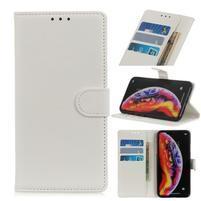 Litchi PU kožené peněženkové pouzdro na mobil Samsung Galaxy A30 / A20 - bílý