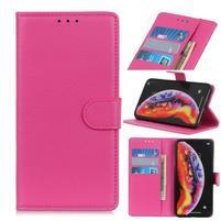 Litchi PU kožené peněženkové pouzdro na mobil Samsung Galaxy A30 / A20 - rose