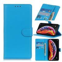 Litchi PU kožené peněženkové pouzdro na mobil Samsung Galaxy A30 / A20 - modrý