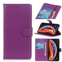 Litchi PU kožené peněženkové pouzdro na mobil Samsung Galaxy A30 / A20 - fialový