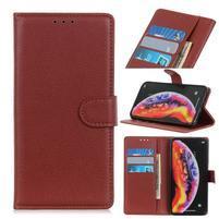 Litchi PU kožené peněženkové pouzdro na mobil Samsung Galaxy A30 / A20 - hnědý