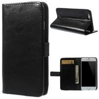 Peněženkové PU kožené pouzdro na iPhone 6, 4.7 - černé