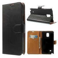 Peněženkové PU kožené pouzdro na Samsung Galaxy Note 4- černé