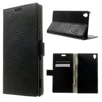 Peněženkové PU kožené pouzdro na Sony Xperia Z3 D6603 - černé