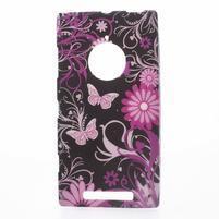 Gelové pouzdro na Nokia Lumia 830 - motýl a květ