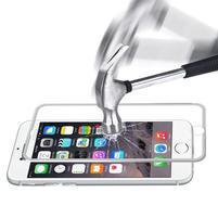 Hat celopološné fixační tvrzené sklo s 3D rohy na iPhone 7 - stříbrné lemy