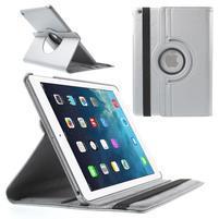 PU kožené rotační pouzdro na iPad Air - stříbrné