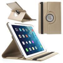 PU kožené rotační pouzdro na iPad Air - zlaté