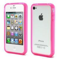 Bumper style gelový rámeček na iPhone 4 a iPhone 4s - rose