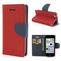Diary PU kožené pouzdro na iPhone 5C - červené