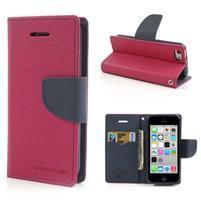 Diary PU kožené pouzdro na iPhone 5C - rose
