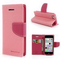 Diary PU kožené pouzdro na iPhone 5C - růžové