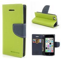 Diary PU kožené pouzdro na iPhone 5C - zelené
