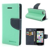 Diary PU kožené pouzdro na iPhone 5C - azurové
