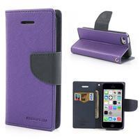 Diary PU kožené pouzdro na iPhone 5C - fialové