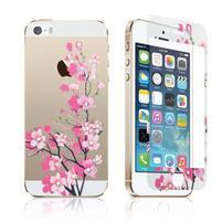 Zdobené přední a zadní tvrzené sklo na iPhone 5 a 5S - květ meruňky