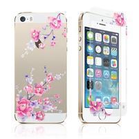 Zdobené přední a zadní tvrzené sklo na iPhone 5 a 5S - švestkové květy