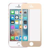Celoplošné tvrzené sklo na iPhone 5 a 5S - zlatý lem
