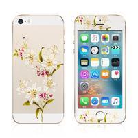 Print přední a zadní ochranné tvrzené sklo na iPhone 5 a 5S - lilie