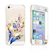 Print přední a zadní ochranné tvrzené sklo na iPhone 5 a 5S - tulipány