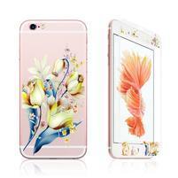 Zdobené přední a zadní tvrzené sklo na iPhone 6 a 6s - tulipány