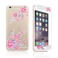 Films přední a zadní zdobené tvrzené sklo na iPhone 6 Plus a 6s Plus - kvetoucí větvička