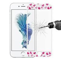 3D glass celoplošné ochranné tvrzené sklo na iPhone 6 Plus a 6s Plus - srdíčka