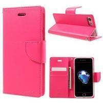 Bravo diary PU kožené zapínací pouzdro na iPhone 7 a iPhone 8 - rose