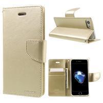 Bravo diary PU kožené zapínací pouzdro na iPhone 7 a iPhone 8 - zlaté