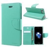 Bravo diary PU kožené zapínací pouzdro na iPhone 7 a iPhone 8 - cyan