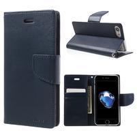 Bravo diary PU kožené zapínací pouzdro na iPhone 7 a iPhone 8 - tmavěmodré