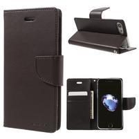 Bravo diary PU kožené zapínací pouzdro na iPhone 7 a iPhone 8 - tmavěhnědé