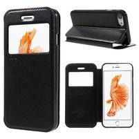 Noble PU kožené zapínací pouzdro s okénkem na iPhone 7 a iPhone 8 - černé