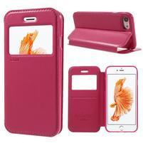 Noble PU kožené zapínací pouzdro s okénkem na iPhone 7 a iPhone 8 - rose