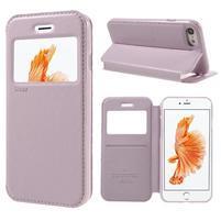 Noble PU kožené zapínací pouzdro s okénkem na iPhone 7 a iPhone 8 - růžové