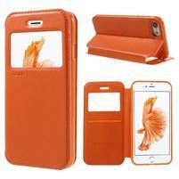 Noble PU kožené zapínací pouzdro s okénkem na iPhone 7 a iPhone 8 - oranžové
