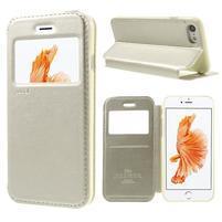 Noble PU kožené zapínací pouzdro s okénkem na iPhone 7 a iPhone 8 - champagne