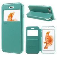Noble PU kožené zapínací pouzdro s okénkem na iPhone 7 a iPhone 8 - cyan