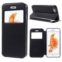 Noble PU kožené zapínací pouzdro s okénkem na iPhone 7 a iPhone 8 - tmavěmodré