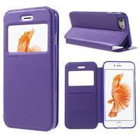 Noble PU kožené zapínací pouzdro s okénkem na iPhone 7 a iPhone 8 - fialové