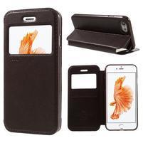 Noble PU kožené zapínací pouzdro s okénkem na iPhone 7 a iPhone 8 - hnědé