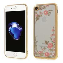Crystal zdobený gelový obal na iPhone 7 a iPhone 8 - zlatý/červený