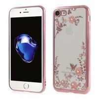 Crystal zdobený gelový obal na iPhone 7 a iPhone 8 - rosegold/červený