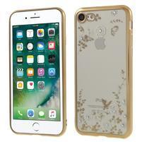 Crystal zdobený gelový obal na iPhone 7 a iPhone 8 - zlatý/bílý