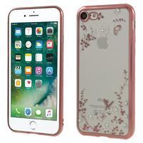 Crystal zdobený gelový obal na iPhone 7 a iPhone 8 - rosegold/bílý