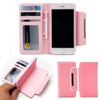 Wally multifunkčí peněženkové pouzdro na iPhone 7 a 8 - růžové