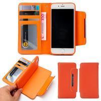 Wally multifunkčí peněženkové pouzdro na iPhone 7 a 8 - oranžové