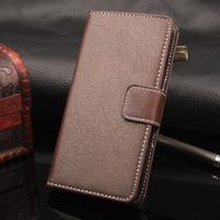 Leathy PU kožené peněženkové pouzdro na iPhone 7 a 8 - coffee