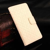 Texture PU kožené pouzdro na iPhone 7 a 8 - smetanové